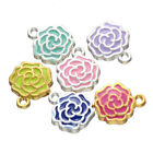 10pc Charms Rose Flower Pendant Beads Necklace Jewellery Making Enamel B741Y