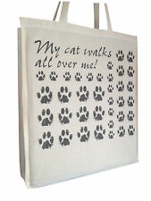 My Cat Walks All  Cotton Shopping Bag Tote with Gusset Long Handles Perfect Gift