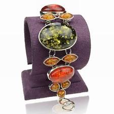Fantaisie Ovale Ambre Chaîne Vintage Argent Tibétain Statement Soirée Bracelet