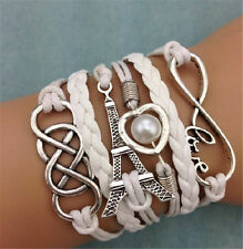 Hot 1Pcs Retro Infinity Love Eiffel Tower Leather Charm Bracelet plated Silver