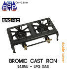 BROMIC CAST IRON DOUBLE BURNER LPG COOKER BBQ WITH HOSE AND REG - PART# CC200