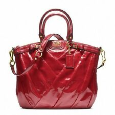 Coach Ruby Red Madison Diagonal Pleated Patent Leather Lindsey Bag F21299 $548