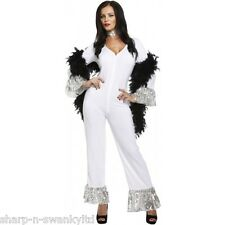 Adult Ladies 1970s 70s Dancing Queen White Jumpsuit Fancy Dress Costume Outfit