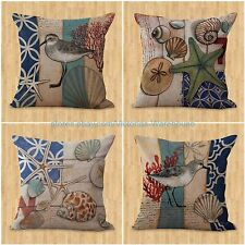 US SELLER-set of 4 cushion covers marine starfish conch shell nautical pillow