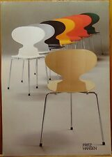 FRITZ HANSEN ARNE JACOBSEN CHAIR FURNITURE ADVERTISEMENT MID CENTURY MODERN 1983