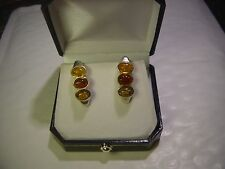 FANTASTIC-SOLID SILVER EARINGS-SET WITH 3 TYPES OF REAL AMBER !HEAVY-BEST QUALIT