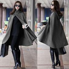Women Grey Hoodie Hooded Cape Cloak Wool Blend Trench Poncho Coat Shawl Fashion