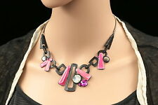 Quality pink crystal rhinestone enamel round seashell black plated necklace N02