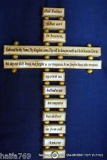 """English """"Our father in heaven prayer""""  hand made olive wood cross 22 cm"""