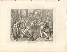1818 Grabado Cobre Hogarth georgiano ~ sabor de la vida de alta