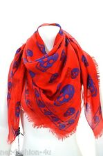 ALEXANDER McQUEEN CLASSIC RED & BLUE SKULL PASHMINA SCARF BOLD COLOURS BNWT