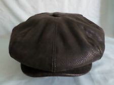GENTS 8-PIECE FAUX LEATHER NEWSBOY BAKER BOY CAP AKA CABBY CAP PAPERBOY HAT