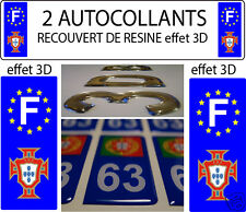 2 stickers AUTOCOLLANT TUNING plaques immatriculation auto 3D RESINE GROLAND GRD