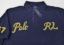 Polo Ralph Lauren SS Mesh Rugby Shirt $125 Script Varsity POLO RL 67 Patches NWT
