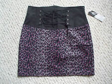 Switchblade Stiletto Black Animal Print, Front Lace, Punk Skirt Size M New