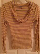 Old Navy Yellow Lavender Striped Long Sleeve  T-Shirt Cowl Neck Size Medium