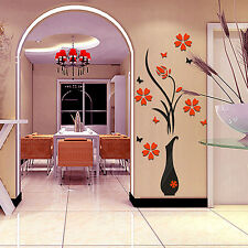 Removable 3D Vase Flower Tree Wall Stickers Home Glitzy DIY Living Room Decor