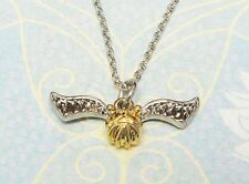 Harry Potter Golden Snitch Necklace, Quidditch charm pendant flying golden ball