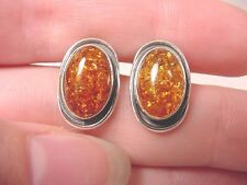 (pe28-1a) AMBER Orange oval .925 Sterling SILVER stud EARRINGS Poland Jewelry