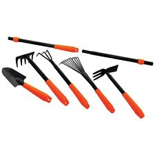 Am-tech 7pcs Gardening Tools Set Rake Fork Hoe Cultivator Trowel Kit