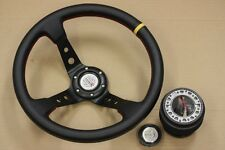 MR2 CELICA COROLLA JDM 350mm BLACK/YELLOW DEEP DISH STEERING WHEEL + HUB ADAPTER