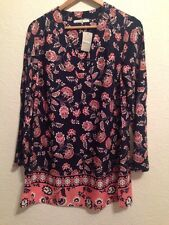BNWT George Tunic Long Top / Dress Navy With Floral Pattern Size 12  BC186