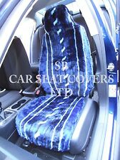i - TO FIT A TOYOTA STARLET CAR, FRONT SEAT COVERS, BLUE STRIPE FAUX FUR