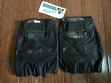 Vintage NEW! Orina Black Leather Gloves 80s cut off fingerless cycling bicycle L