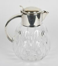 VINTAGE OCCUPIED GERMAN CUT CRYSTAL AND SILVERPLATE PITCHER W/ GLASS ICE INSERT