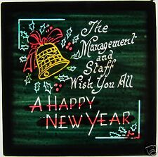 Colour Glass Magic lantern Slide c1900 THE STAFF WISH YOU ALL A HAPPY NEW YEAR