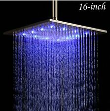 16 Inches Brushed Nickel Brass Rain Shower Head LED Colors Top Sprayer