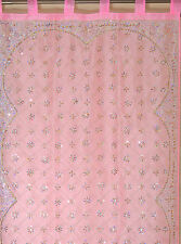 Pink Curtain Panel - Zardozi Embroidered Beaded India Window Treatments 92""