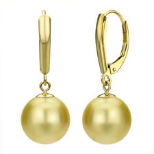 14k Yellow Gold 10-11mm Perfect Round Golden South Sea Pearl Leverback Earrings