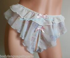 2X/3X FLORAL CROTCHLESS SISSY PANTIES blue PRINT WOMENS PLUS SIZE LINGERIE