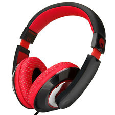 Over-Ear Kids Childrens DJ Headphones Adjustable iPod iPad iPhone DVD Black Red