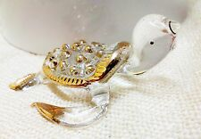 Sea Turtle Blown Glass Tiny Animal Figurine Gold Hand Painted Collectible Gift
