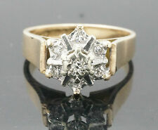 Vintage 9ct Yellow Gold Illusion Set Diamond(0.10ct) Daisy Cluster Ring(Size L)