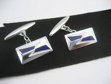 Antique Art Deco Mid Century Rhodium Guilloche Blue & White Enamel Cufflinks