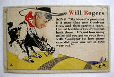 1929 Will Rogers and Goodyear Tires Advertising Postcard Akron Indiana