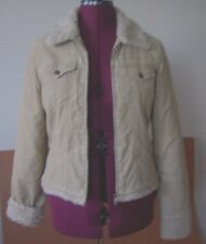 """Ladies JACKET~ABERCROMBIE & FITCH~A&F~sz L~Beige~Zip~quilted lining~fur~bust 39"""""""