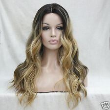 Heat Ok Quality Ombre Dark Brown w/ Golden Blonde Wavy Short-Lace Front Long Wig