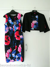 New V by Very Printed Pencil Dress Suit Print Size 14, Ladies dress with jacket