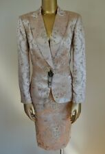 KAY UNGER Exquisite Pale Pink Silk Brocade Skirt Suit 10 Tailored Jacket