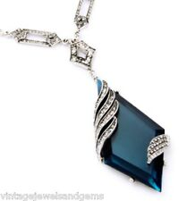 BLUE CRYSTAL RHINESTONE Chunky Silver Art Deco Lariat Pendant Statement Necklace