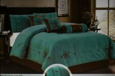 7pc Western Lone Star Comforter Thick/Soft Suede Queen Turquoise-chocolate stars