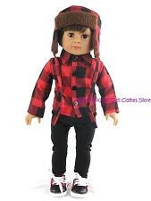 Plaid Shirt~ Ushanka Hat~ Pants Doll Clothes For 18 15 in American Girl Boy Doll