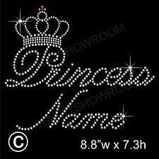 Personalised Princess & crown Rhinestone/Diamante Transfer Hotfix Iron on Motif