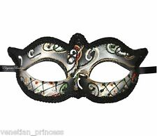 Silver Tone Mardi Gras Venetian Masquerade Mask Black Lining NEW MGM004A