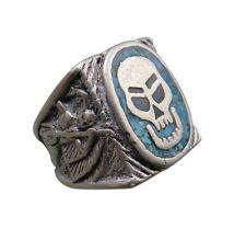 Vintage G&S 1985 Biker Ring Skull Blue Black Enamel Size 7 Unisex Chunky 72q