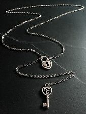 "Silver Heart Lock & Key Lariat Style Necklace--26"" Stainless Steel Cable Chain"